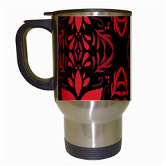 Christmas Red And Black Background Travel Mugs (white) by Sapixe
