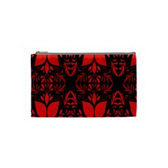 Christmas Red And Black Background Cosmetic Bag (small)