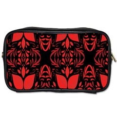 Christmas Red And Black Background Toiletries Bags by Sapixe