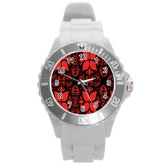 Christmas Red And Black Background Round Plastic Sport Watch (l)