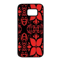 Christmas Red And Black Background Samsung Galaxy S7 Edge Black Seamless Case by Sapixe
