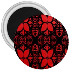 Christmas Red And Black Background 3  Magnets by Sapixe