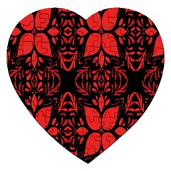 Christmas Red And Black Background Jigsaw Puzzle (heart)