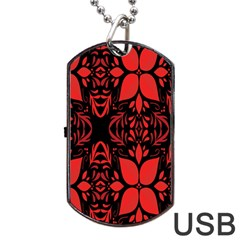 Christmas Red And Black Background Dog Tag Usb Flash (two Sides) by Sapixe