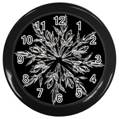 Ice Crystal Ice Form Frost Fabric Wall Clocks (black)