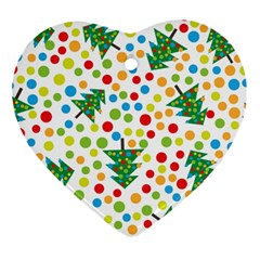 Pattern Circle Multi Color Heart Ornament (two Sides) by Sapixe