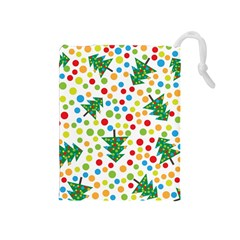Pattern Circle Multi Color Drawstring Pouches (medium)  by Sapixe