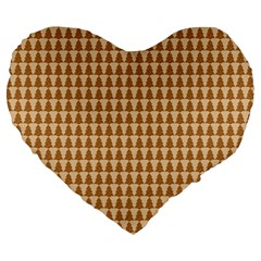 Pattern Gingerbread Brown Large 19  Premium Heart Shape Cushions