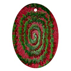 Red Green Swirl Twirl Colorful Ornament (oval) by Sapixe