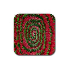 Red Green Swirl Twirl Colorful Rubber Coaster (square)  by Sapixe