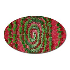 Red Green Swirl Twirl Colorful Oval Magnet