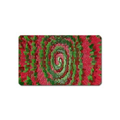 Red Green Swirl Twirl Colorful Magnet (name Card) by Sapixe