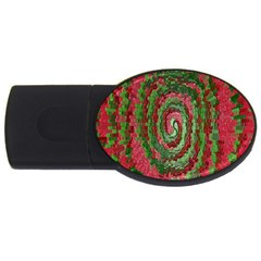 Red Green Swirl Twirl Colorful Usb Flash Drive Oval (4 Gb) by Sapixe