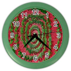 Red Green Swirl Twirl Colorful Color Wall Clocks by Sapixe