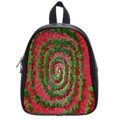 Red Green Swirl Twirl Colorful School Bag (small) by Sapixe