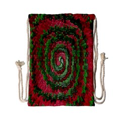 Red Green Swirl Twirl Colorful Drawstring Bag (small) by Sapixe