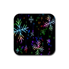 Snowflakes Snow Winter Christmas Rubber Square Coaster (4 Pack)