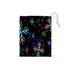Snowflakes Snow Winter Christmas Drawstring Pouches (small)