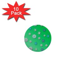Snowflakes Winter Christmas Overlay 1  Mini Buttons (10 Pack)