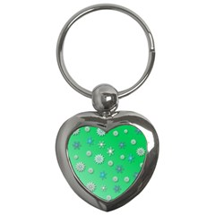 Snowflakes Winter Christmas Overlay Key Chains (heart)  by Sapixe