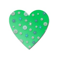 Snowflakes Winter Christmas Overlay Heart Magnet by Sapixe