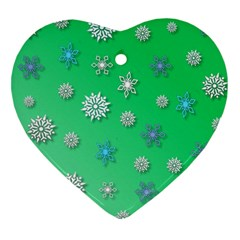 Snowflakes Winter Christmas Overlay Heart Ornament (two Sides) by Sapixe