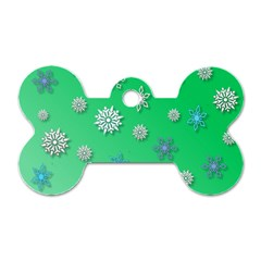 Snowflakes Winter Christmas Overlay Dog Tag Bone (two Sides) by Sapixe