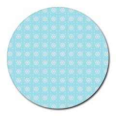 Snowflakes Paper Christmas Paper Round Mousepads by Sapixe
