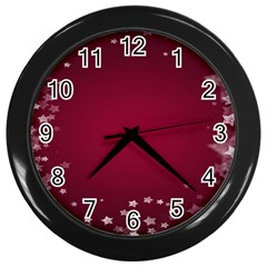 Star Background Christmas Red Wall Clocks (black)