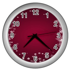 Star Background Christmas Red Wall Clocks (silver)  by Sapixe