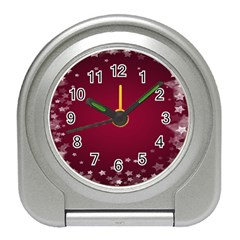 Star Background Christmas Red Travel Alarm Clocks by Sapixe