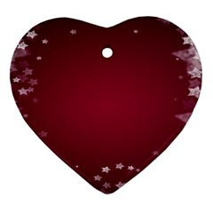 Star Background Christmas Red Heart Ornament (two Sides) by Sapixe