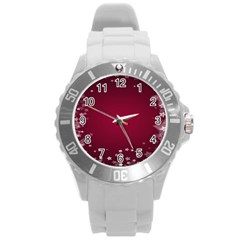 Star Background Christmas Red Round Plastic Sport Watch (l) by Sapixe