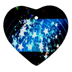 Star Abstract Background Pattern Heart Ornament (two Sides)