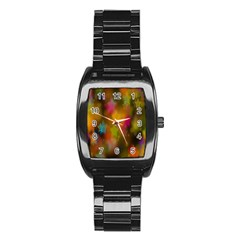 Star Background Texture Pattern Stainless Steel Barrel Watch