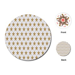 Star Background Gold White Playing Cards (round)  by Sapixe