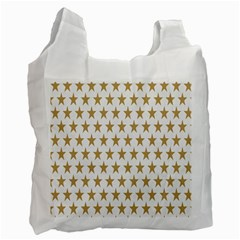 Star Background Gold White Recycle Bag (two Side)  by Sapixe