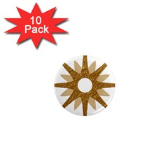 Star Golden Glittering Yellow Rays 1  Mini Magnet (10 Pack)  by Sapixe