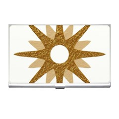 Star Golden Glittering Yellow Rays Business Card Holders