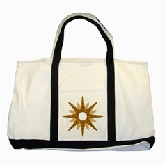 Star Golden Glittering Yellow Rays Two Tone Tote Bag