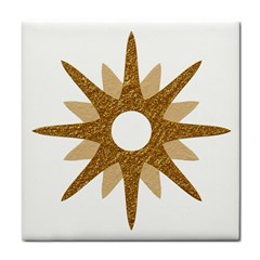 Star Golden Glittering Yellow Rays Face Towel by Sapixe