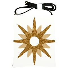 Star Golden Glittering Yellow Rays Shoulder Sling Bags by Sapixe