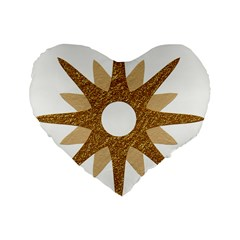 Star Golden Glittering Yellow Rays Standard 16  Premium Heart Shape Cushions
