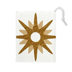 Star Golden Glittering Yellow Rays Drawstring Pouches (large)  by Sapixe