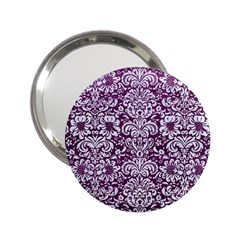 Damask2 White Marble & Purple Leather 2 25  Handbag Mirrors by trendistuff