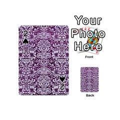 Damask2 White Marble & Purple Leather Playing Cards 54 (mini)  by trendistuff