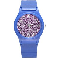Damask2 White Marble & Purple Leather Round Plastic Sport Watch (s) by trendistuff