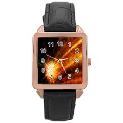 Star Sky Graphic Night Background Rose Gold Leather Watch