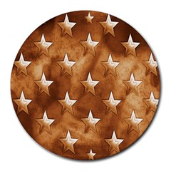 Stars Brown Background Shiny Round Mousepads by Sapixe