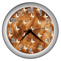 Stars Brown Background Shiny Wall Clocks (silver)  by Sapixe